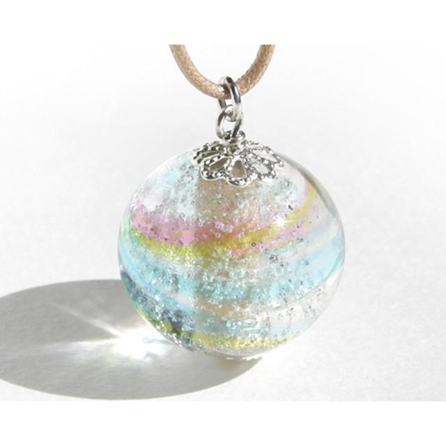 ガラスネックレス【薫彩】L*虹の小石