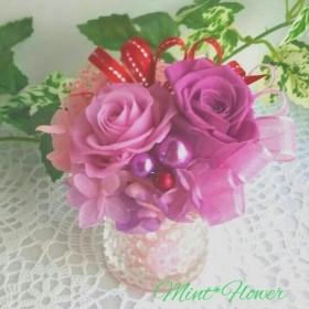 バラとあじさいのピンクプリザーブドグラス