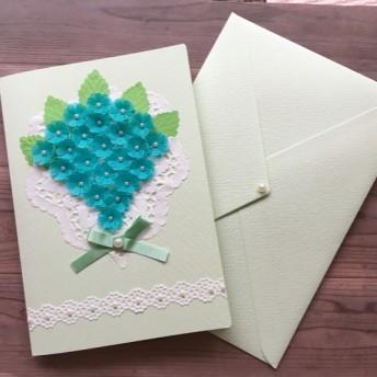 花束のメッセージカード*半透明グリーン*