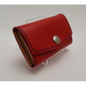 028・牛ヌメ革コインケース 赤x青