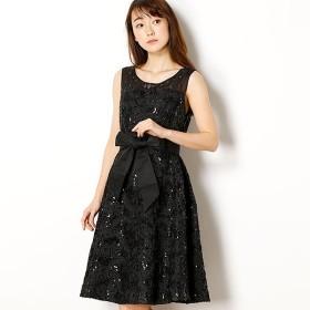 [マルイ] デコルテビジューマーク 幾何学模様スパンコール刺繍レースドレス/ドリードール(Dorry Doll)