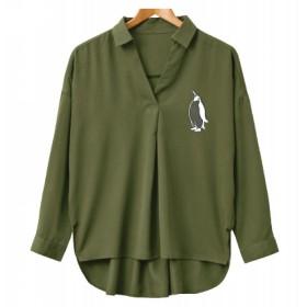 ペンギン スキッパーシャツ、オリジナルデザイン、カーキ