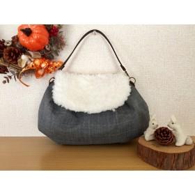 コロンと可愛い秋冬素材のバッグ 3(グレー系チェック)
