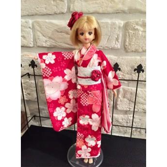 簡単着付け振袖セット 桜柄ワイン花