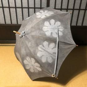 日傘 藍染と泥染×板締め×夜光貝