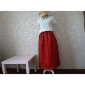 深紅のリネンスカート☆ギャザー