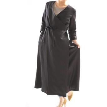 【wafu】中厚 リネン ワンピース コート 2wey カシュクール ボタン ロング丈 7分袖 ガウン / ブラック h003b-bck2
