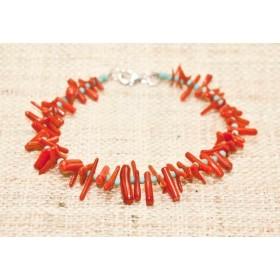 赤サンゴのシルバーブレス TK43