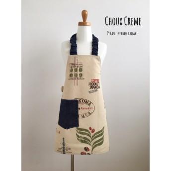 ひとりで着られる キッズエプロン&三角巾セット ドンゴロス風