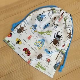 巾着 35×30センチ 昆虫◇白&スター☆(裏地なし) お着替え袋などに