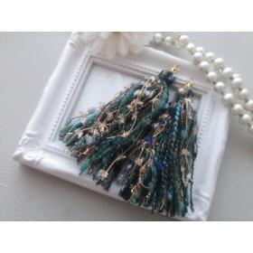 ふわふわ♪変わり糸のタッセル パーツ売り 秋色ダークグリーン系ロング ピアス*イヤリングにも出来ます♪