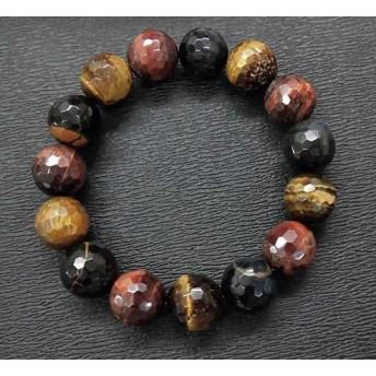 天然石 3色タイガーアイ13.5㎜カット玉ブレスレット 内周:約19.0cm 15062085