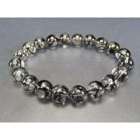 『開運』天然石ブラッククラック水晶約10ミリ数珠ブレスレット