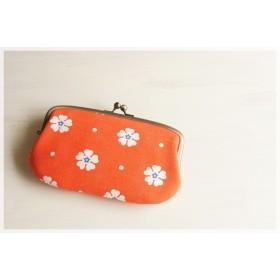 ■ヴィンテージ生地の親子がま口長財布 / オレンジに白の花■