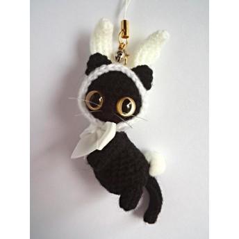 【送料無料】白うさぎのフードの黒猫あみぐるみ