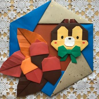 折り紙リース 秋 どんぐり 落ち葉 リス 壁面飾り