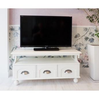 【送料無料】ヨーロピアンアンティーク調テレビボード/テレビ台W90cm(ホワイト)