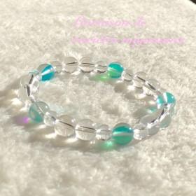 ポジティブな光を引き寄せ運気を味方につける☆ルナフラッシュ、水晶☆パワーストーンブレスレット