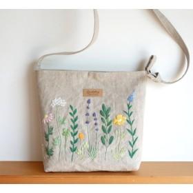 植物刺繍のリネンショルダーバッグ