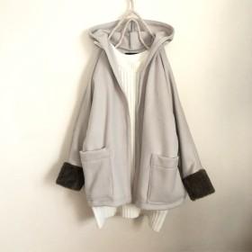 グレージュ色ウールフード付ジャケットコート