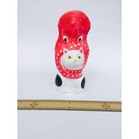 猫に蛸-白- 相良人形 猫の置物