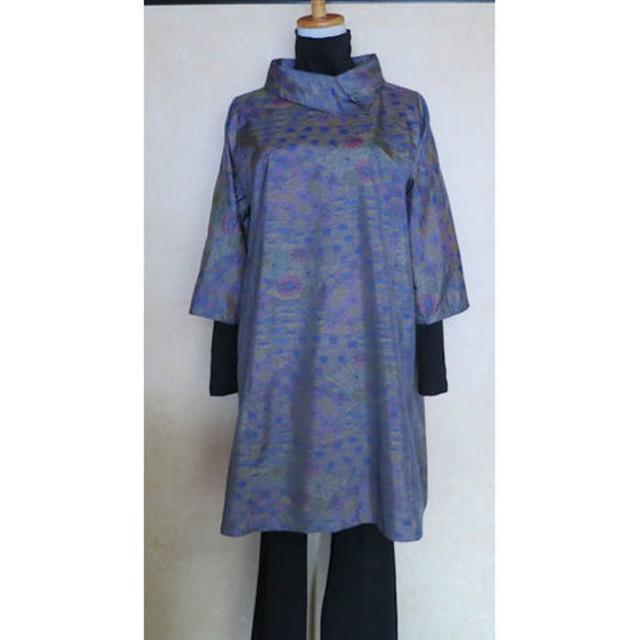 f1b44b1059923 着物リメイク:大島紬の七分袖チュニック ゆったり 通販 LINEポイント ...
