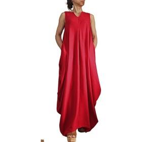 柔らかヘンプのドレープドレス ノースリーブ 赤(DNN-101-05)