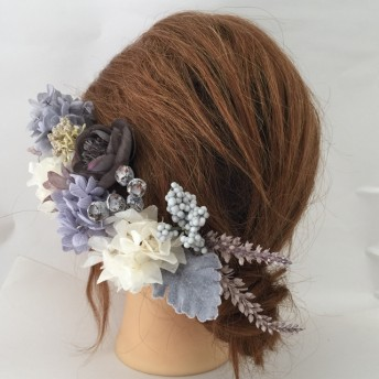 NO23 プリザーブドあじさい髪飾り ブライダル髪飾り ヘッドドレス 成人式髪飾り