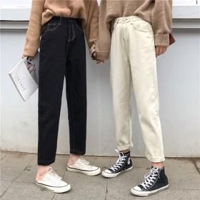 韓国ファッションデニムパンツ レディース テーパードパンツジーンズ ジーパン シンプル ストレートパンツ ハイウエストジーンズ カジュアルパンツきれいめ