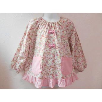 100cm♪ピンク小花柄 リボン、ドットフリル スモック
