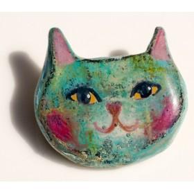 プチキャットのかわいいブローチ グリーンな猫