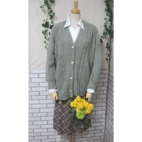 カーディガン ウール100%手編みなのに安価 ゆったりサイズ KS029