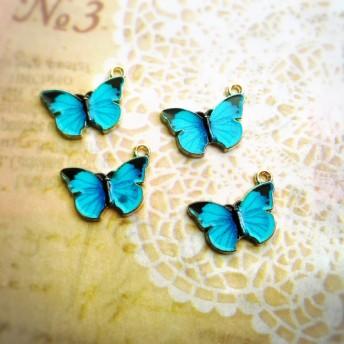 青色蝶々のチャームセット ハンドメイドアクセサリー