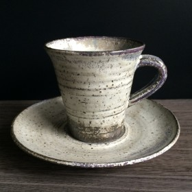 みぞれ釉コーヒー碗皿