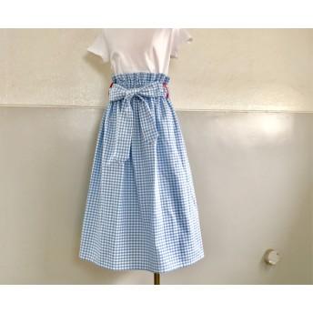 ot405ギンガムチェックスカート【水色】