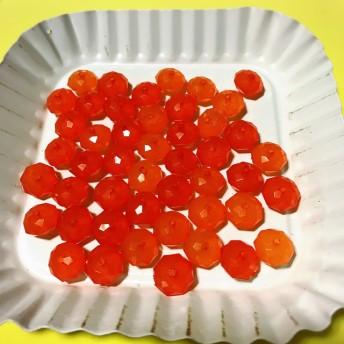 ◆送料無料◆アクリル ビーズ 濃いオレンジ 柿色 ロンデル型 大きめ カラフル