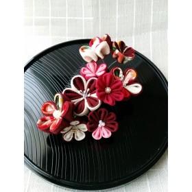 つまみ細工 着物に合う赤と古典柄 和の髪飾り(ち)