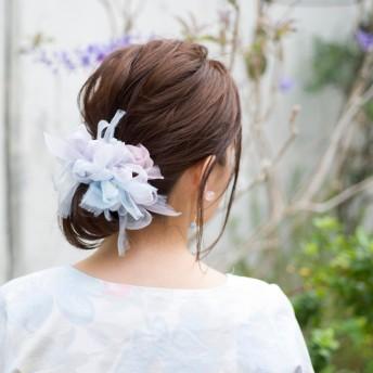 アジサイ|咲き編みシュシュ