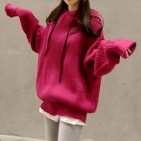 ニット・セーター - Lady Girls ニット パーカー フード オーバーサイズ 大きめ ゆったり 無地 セーター プルオーバー カットソー トップス レディース 秋冬 新作