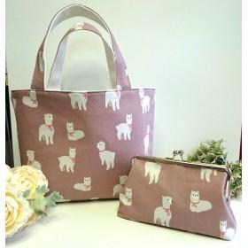 ◆【売り切れ】バッグとがま口ポーチセットかわいいアルパカ柄◆