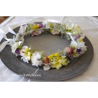 ボタニカルガーデンヘッドドレス*ミモザと矢車草の花冠