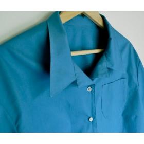 セルリアンブルー開襟半袖シャツ