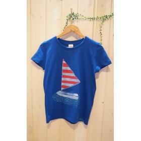 女性Mサイズ☆パキッと鮮やかブルーにシンプルヨットが素敵な♪手描きTシャツ