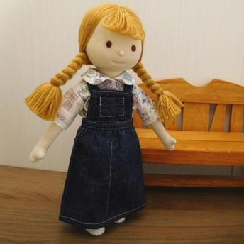 布人形 着せ替え人形 花柄ブラウス サロペットスカート 女の子 セット 布ドール 28cmサイズ