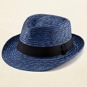 ノア 中折れ 麦わら帽子 ストローハット ブルー 57.5cm [UK-H005-M-BL]