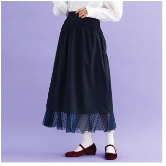 [マルイ]【セール】【plus】ドットチュールレイヤードスカート/メルロープラス(merlotPLUS)