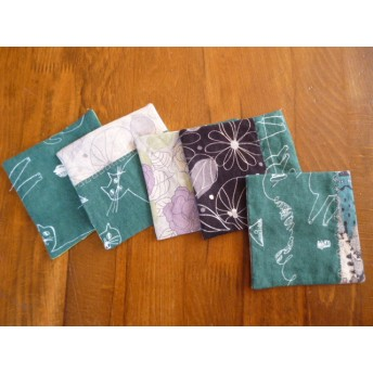 送料無料10北欧調綿麻のミシン刺繍パッチコースター猫達