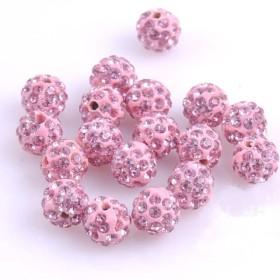「2個 桜ピンク」スワロ・ジュエルストーン パヴェボール 10mm
