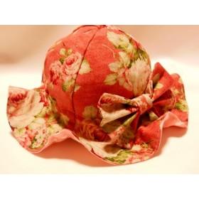フリフリチューリップハット帽子 薔薇 綿麻 バラ
