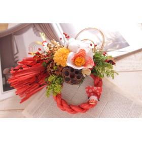 しめ縄飾り オレンジ椿とイエローマム